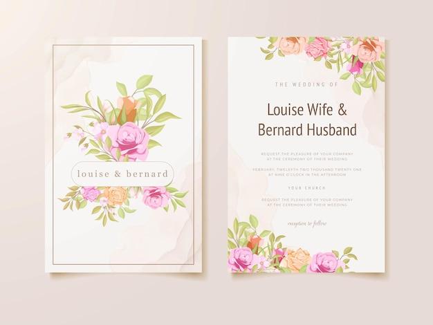 Biglietto d'invito per matrimonio con cornice floreale ad acquerello