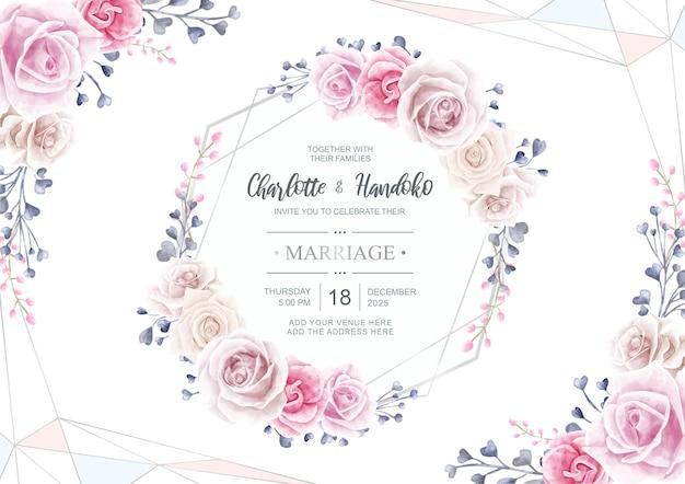 Carta di invito a nozze con fiore acquerello