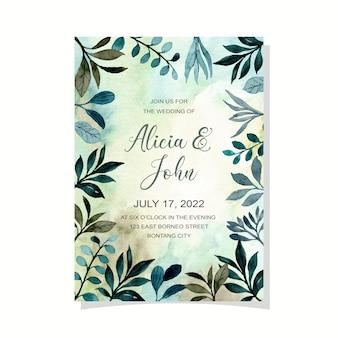 Carta di invito a nozze con acquerello foglie verdi sfondo astratto