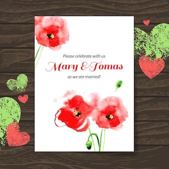 Carta di invito a nozze con papavero acquerello. fondo di legno di vettore