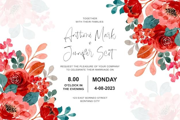 Carta di invito a nozze con rose rosse dell'acquerello