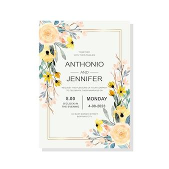 Carta di invito di nozze con acquerello floreale giallo