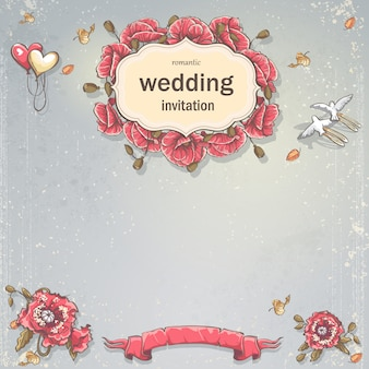 Carta di invito a nozze per il tuo testo su uno sfondo grigio con papaveri, palloncini e piccioni