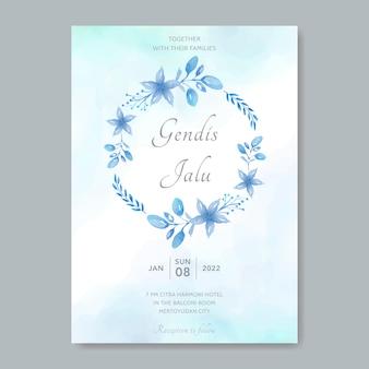 Biglietti d'invito di nozze cornice floreale circolare con elementi blu