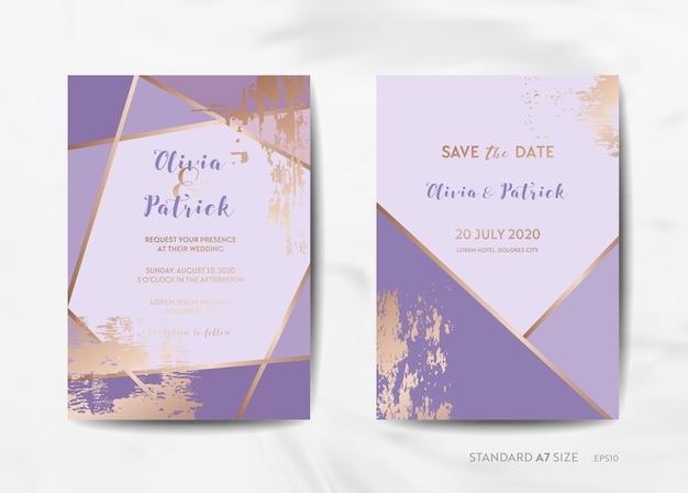 Collezione di carte di invito a nozze. save the date, rsvp con sfondo texture viola alla moda e illustrazione geometrica del design del telaio art deco oro in vettoriale