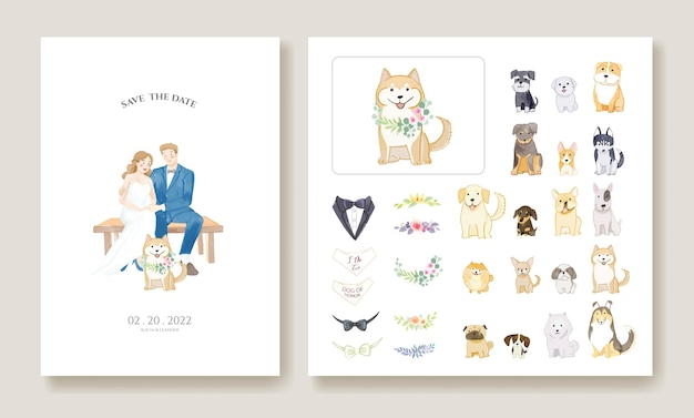 Biglietti d'invito di nozze, salva il modello di data. sposa e sposo con la loro immagine di cane.