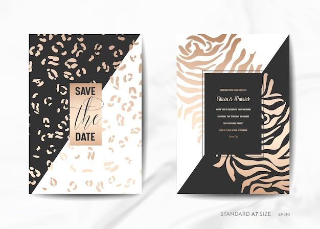 Biglietti d'invito per matrimoni, salva la data con l'illustrazione dorata alla moda del fondo di struttura della pelle animale nel vettore