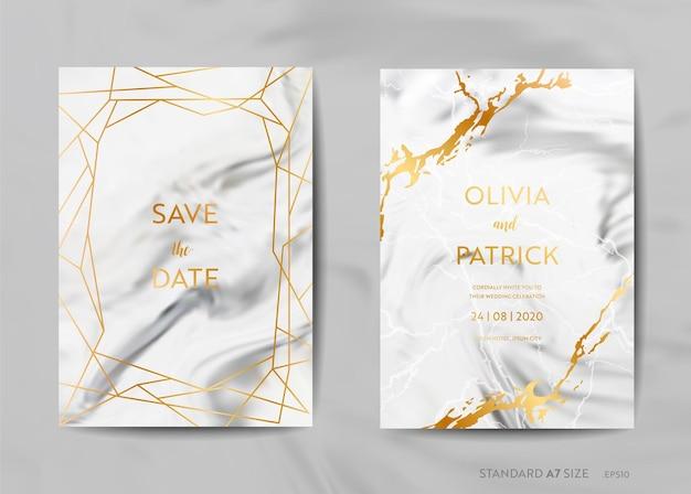 Biglietti d'invito per matrimoni, save the date con sfondo in marmo alla moda e illustrazione di design con cornice geometrica dorata in vettoriale