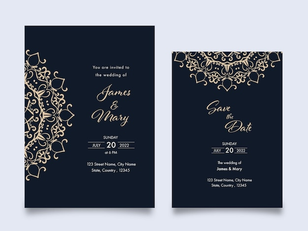 Layout del modello di carte di invito a nozze con motivo a mandala su sfondo grigio.