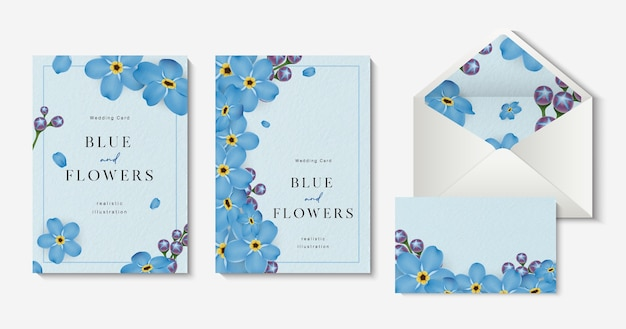 Biglietti d'invito di nozze con un bellissimo modello blu non ti scordar di me fiori.
