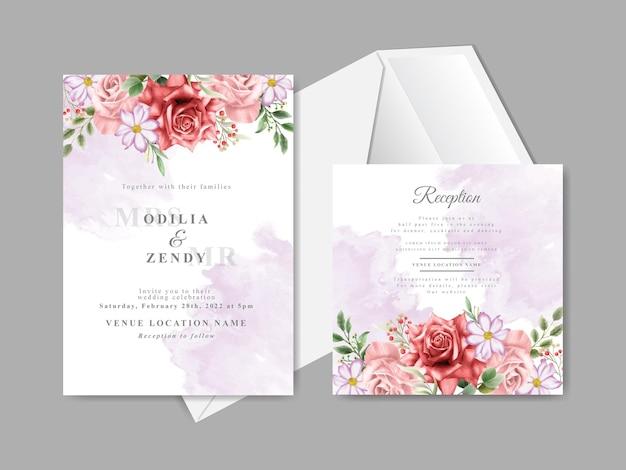 Carte di invito a nozze con bellissimi fiori rossi disegnati a mano