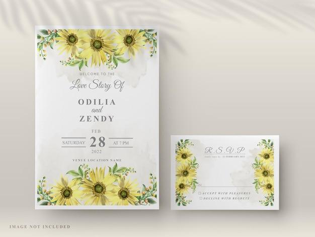 Carte di invito a nozze con girasole disegnato a mano bella