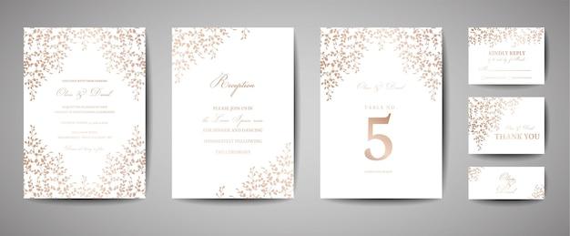 Biglietti d'invito per matrimonio con foglie e ghirlande in lamina d'oro