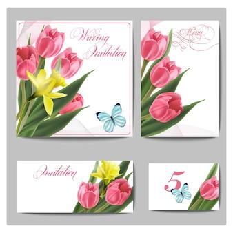 Biglietti d'invito per matrimonio con fiori primaverili, tulipani, narcisi e farfalle template vector