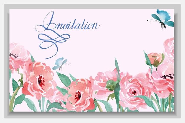 Biglietti di invito a nozze con ranunculus in fiore ad acquerello. illustrazione vettoriale.