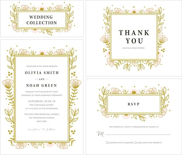 Collezione di inviti di nozze con cornice floreale