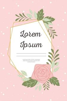 Il fiore decorativo dell'invito di nozze lascia il fondo rosa della cartolina d'auguri o di annuncio