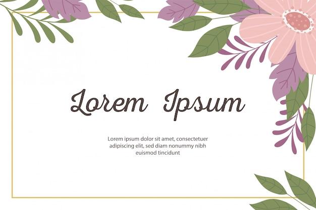 Cartolina d'auguri o annuncio decorativa minimalista e floreale del modello dell'invito di nozze