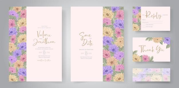Disegno dell'invito di nozze con un bellissimo ornamento di fiori di crisantemo Vettore Premium