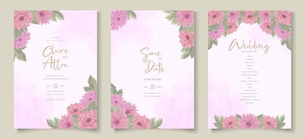 Disegno dell'invito di nozze con un bellissimo ornamento di fiori di crisantemo