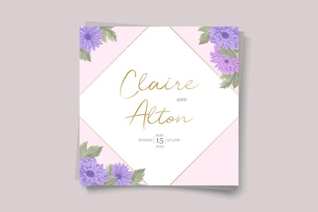 Disegno dell'invito di nozze con ornamento di fiori di crisantemo colorato