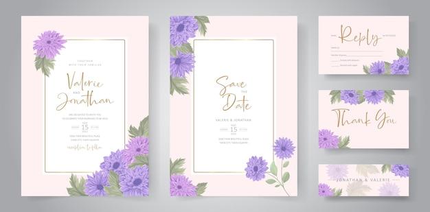 Disegno dell'invito di nozze con ornamento di fiori di crisantemo colorato Vettore Premium