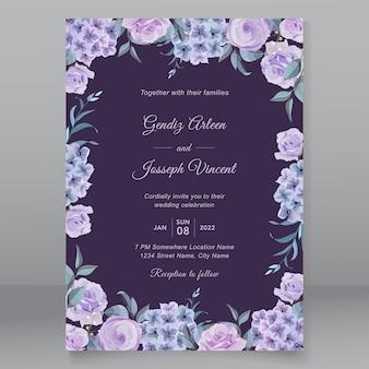 Disegno dell'invito di nozze con fiori di ortensia
