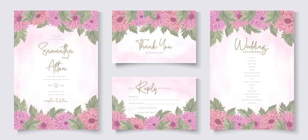Progettazione di invito a nozze con fiore di crisantemo rosa