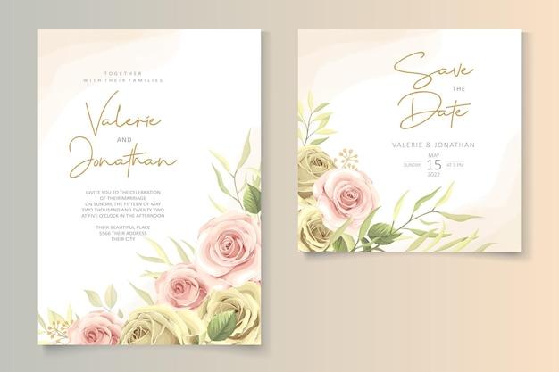 Design invito a nozze con colori tenui delle rose