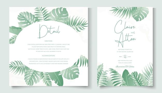 Disegno dell'invito di nozze con ornamento di foglie tropicali
