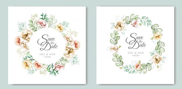 Disegno dell'invito di nozze con acquerello floreale e foglie