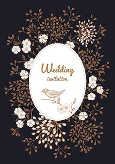 Cornice floreale invito a nozze