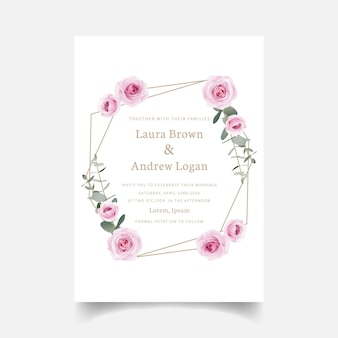 Invito a nozze rose floreali e foglie di eucalipto