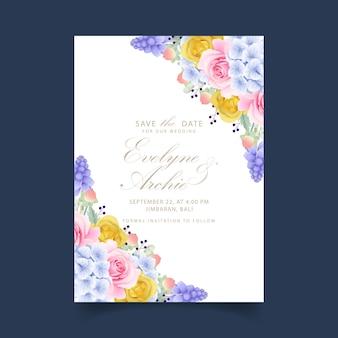 Invito a nozze rose floreali e ortensie Vettore Premium
