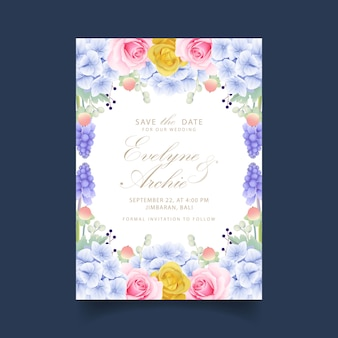 Invito a nozze rose floreali e ortensie