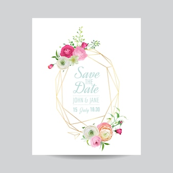 Modello floreale dell'invito di nozze. salva la cornice dorata della data con il posto per il testo e i fiori rosa. biglietto di auguri, poster, banner. illustrazione vettoriale