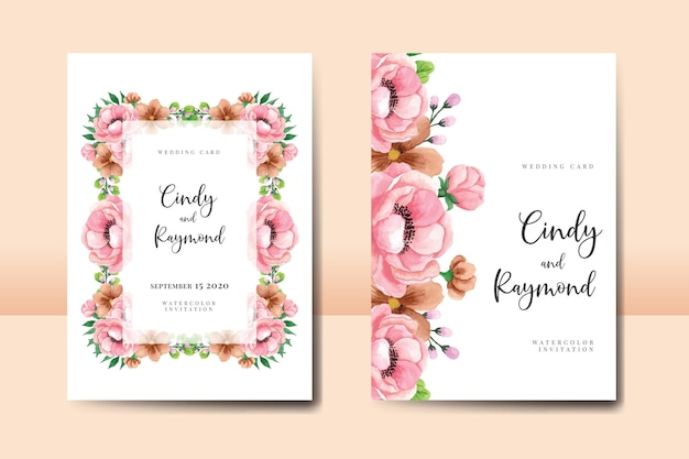 Matrimonio invito cornice set, acquerello floreale disegnato a mano modello di carta di invito fiore di peonia