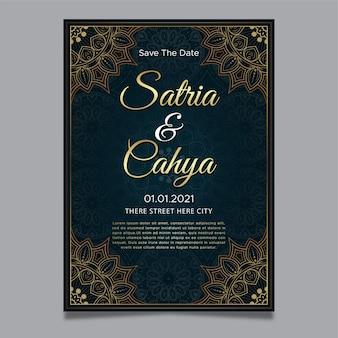 Invito a nozze ornamento d'oro con sfondo mandala