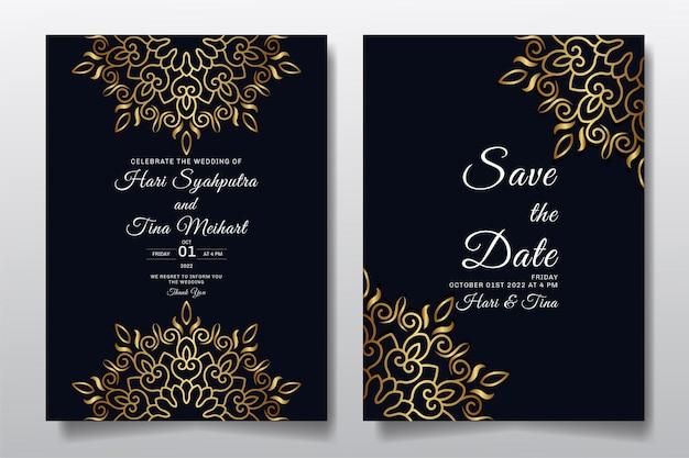 Biglietto di auguri di invito a nozze con ornamento o mandala design.