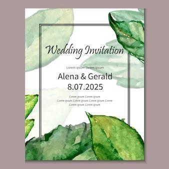Modello disegnato a mano delle foglie verdi dell'invito di nozze
