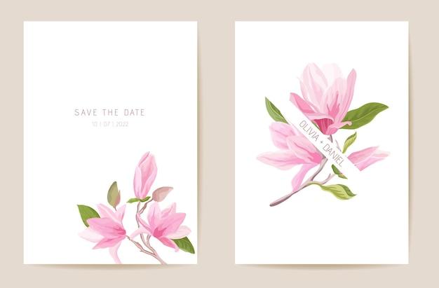 Invito a nozze magnolia fiori primaverili, foglie. scheda floreale, vettore modello acquerello tropicale. botanical save the date poster moderno fogliame dorato, design alla moda, sfondo di lusso