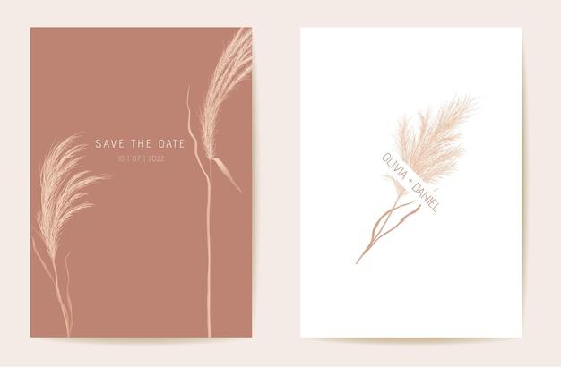 Carta di boho dell'erba della pampa dell'invito di nozze. vettore del modello dell'acquerello di autunno. botanical save the date poster moderno fogliame dorato, design alla moda, sfondo di lusso, illustrazione minima