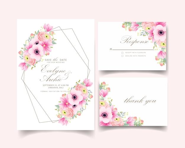 Invito a nozze fiori di ranuncolo magnolia anemone Vettore Premium