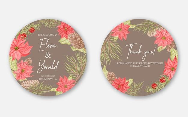 Invito a nozze rotondo modello di carta con cornice di fiori e foglie disegnati a mano