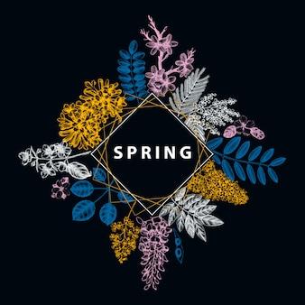 Invito a nozze, rsvp, biglietto di auguri. cornice d'epoca con alberi primaverili con fiori, foglie, schizzi di rami. elegante modello floreale primaverile - acacia, gelsomino, glicine, alberi di lillà