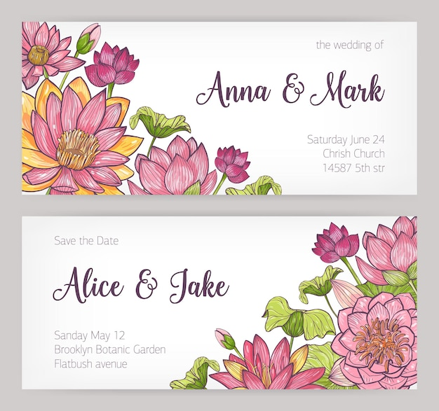 Invito a nozze e modelli di biglietti save the date decorati con eleganti fiori di loto rosa, boccioli e foglie