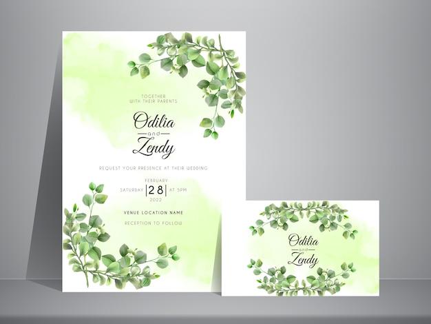 Modello di set di invito a nozze con disegnato a mano elegante eucalipto