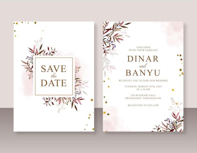 Modello di set di inviti di nozze con foglie acquerello dipinte a mano