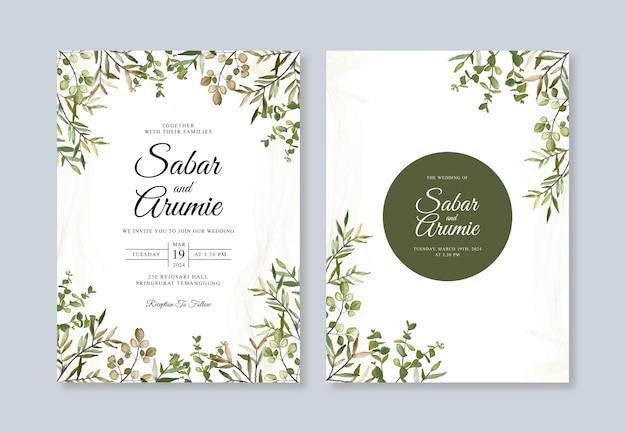 Modello di set di inviti di nozze con fogliame acquerello