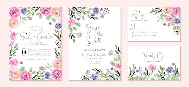 Invito a nozze set con acquerello bellissimo fiore